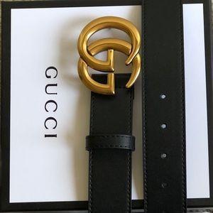 New Gucci GG Gold Buckle Double G Logo Belt